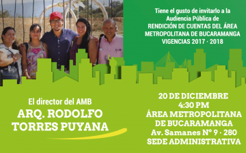 Hoy jueves 20 de diciembre de 2018, Rendición de Cuentas del Área Metropolitana de Bucaramanga