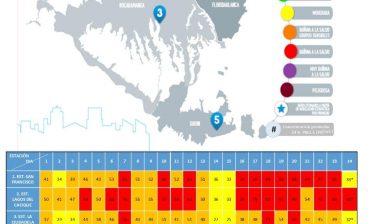 Por primera vez en los últimos nueve días, los resultados de las 24 horas de monitoreo de material particulado PM 2.5 -para el día 24 de marzo- arrojaron cifras que corresponden al rango Moderado (color amarillo), en las estaciones localizadas en los sectores de Ciudadela  Real de Minas y San Francisco de Bucaramanga