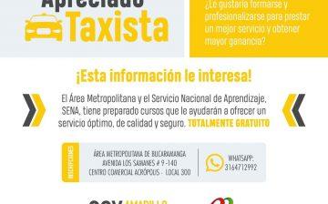 Área Metropolitana y SENA ofrecen capacitación a 6 mil conductores de taxi en competencias laborales, atención al usuario, inglés básico y seguridad vial.