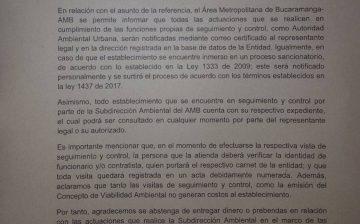 ALERTA: El Área Metropolitana de Bucaramanga, informa a la comunidad que falsos funcionarios estarían cobrando por hacer efectivos tramites que son propios del AMB como autoridad ambiental y no ocasionan costos a los ciudadanos.